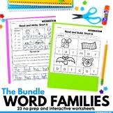 CVC Word Families No Prep Color, Cut & Glue Worksheets Bun