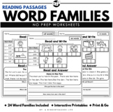 CVC Word Family Reading Passages and Comprehension Questio