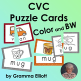CVC Picture Vocabulary Word Cards for Puzzles and Matching in Color and BW
