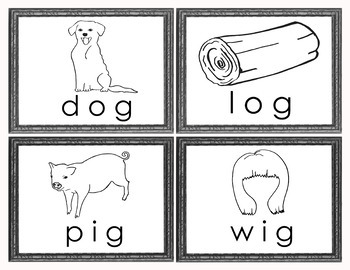 CVC Word Families Picture Word Cards for Puzzles, Word Walls, Matching - BW Only