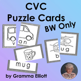 CVC Word Families Picture Cards for Puzzles, Word Walls, Matching in BW Only