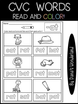 CVC Word Family Word Work: Read and Color