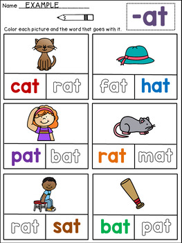 CVC Words Worksheets: Read and Color