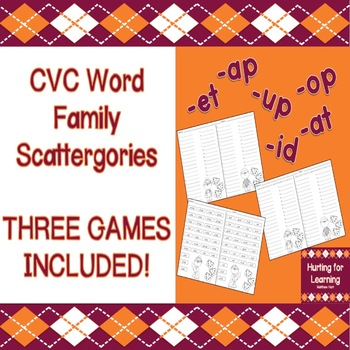 CVC Word Families Scattergories Game - THREE DIFFERENT GAMES INCLUDED!
