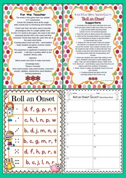 CVC Word Families Scoot Game - 'Roll an Onset'