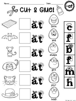 CVC Word Families Short A (-at, -ad, -ag, -an, -ap) No Prep Packet