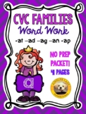 CVC Word Families Short A (-at, -ad, -ag, -an, -ap) No Pre