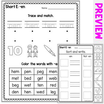 CVC Word Families - Short E