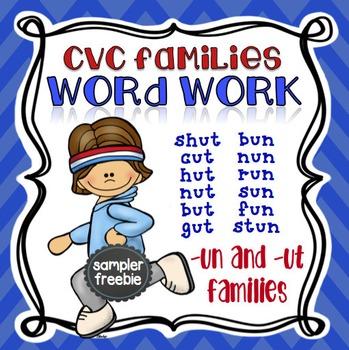 CVC Word Families Short U (-UN and -UT) Free No Prep Packet sampler