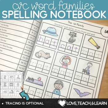 CVC Word Families Spelling Notebook