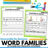 CVC Word Families Word Families Making Sentences Worksheet