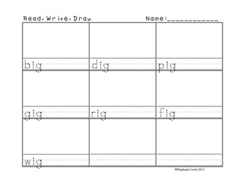CVC Word Family Word Work | Read, Write, Trace, Draw **20 families included**
