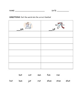 CVC Word Families Word-Work Sort