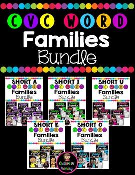 CVC Word Families Worksheets Bundle
