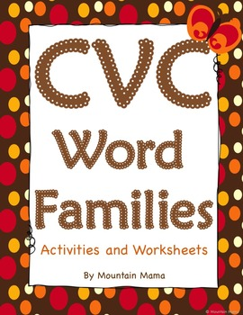 CVC Word Families Worksheets and Activities