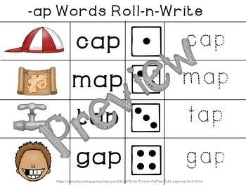 CVC - Word Families -ap Words