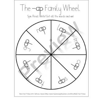 Word Families -ap -at -ed