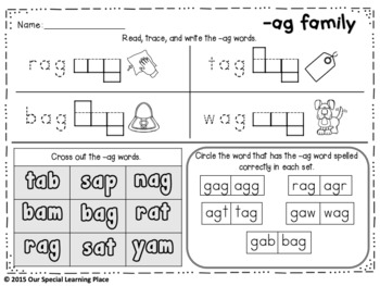 CVC Word Family {-ad -at -ag -am -an -ap}