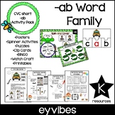 CVC Word Family 'AB' No Prep Phonics Printable Hands on Ac