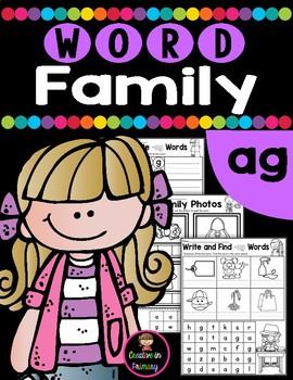 CVC Word Family AG Worksheets