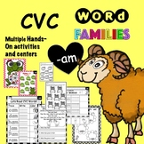 CVC Word Family 'AM' No Prep Phonics Printable Hands on Ac