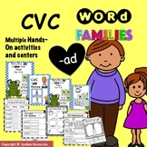 CVC Word Family 'AD' No Prep Phonics Printable Hands on Ac