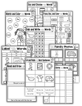 CVC Word Family AN Worksheets