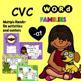 CVC Word Family 'AT' No Prep Phonics Printables