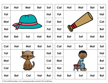 CVC Word Family Punch Activity: At Words