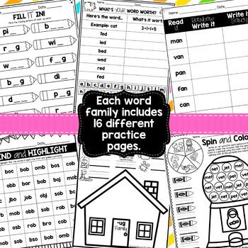 CVC Word Family Booklets