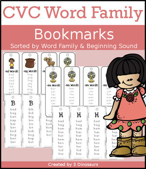 CVC Word Family Bookmarks