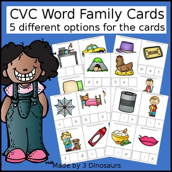 CVC Word Family Cards with Tiles