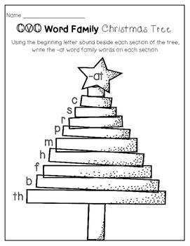CVC Word Family Christmas Tree Printables