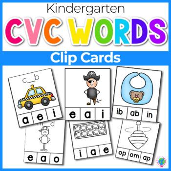 CVC Word Family Clip Cards   CVC Words   Literacy Centers