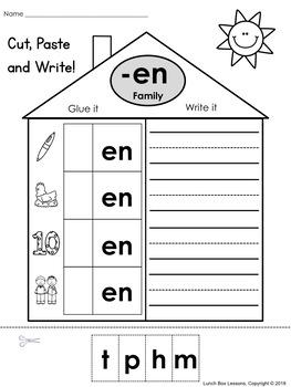 CVC Word Family Cut, Paste & Write