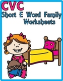 "CVC Word Family ""E"" Print and Go Worksheets"