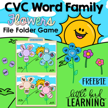 CVC Word Family Flowers File Folder FREEBIE