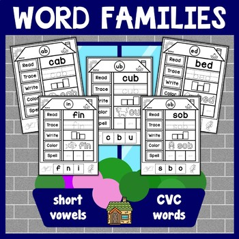 CVC Words Family Houses Activity Worksheets