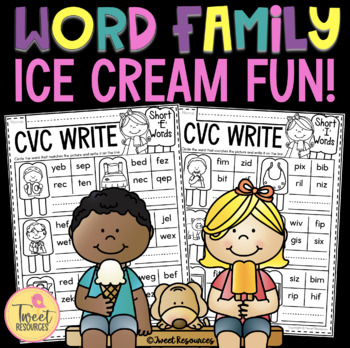 CVC Word Family Ice Cream Fun FREEBIE