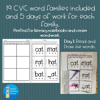 CVC Word Family Literacy Notebook Activities