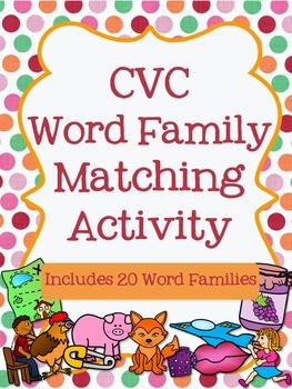 CVC Word Family Matching Activity