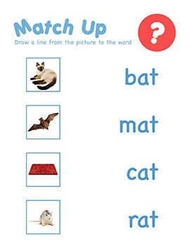 CVC Word Family Matching Games Worksheets