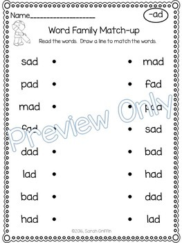 CVC ~ Word Family Match Up ~ Short vowel Worksheets
