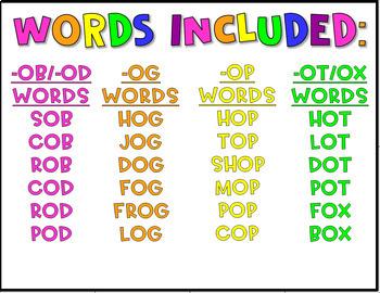 CVC Word Family Mini Books- Short O Set