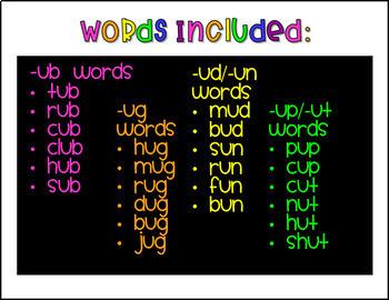 CVC Word Family Mini Books- Short U Set