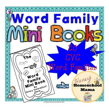 CVC Word Family Mini Books with Interactive Feel - 20 Different Word Families