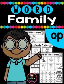 CVC Word Family OP Worksheets