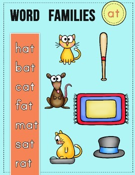 CVC Word Family Pack: Worksheets and Centers/-at Word Family