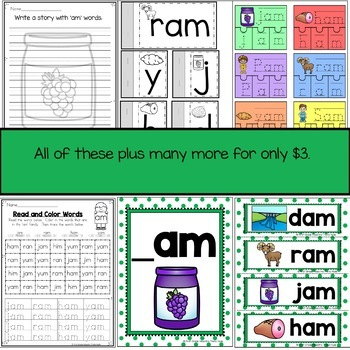 AM Word Family Word Work