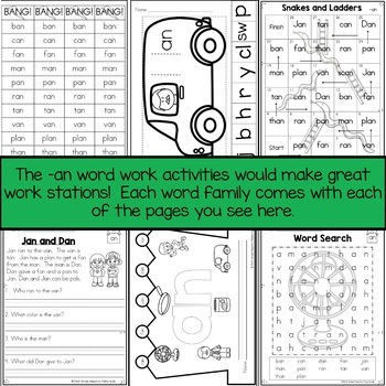 AN Word Family Word Work